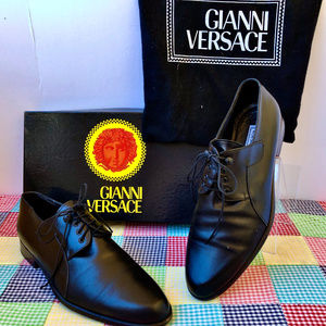 GIANNI VERSACE Black Leather Oxford Vintage Italy